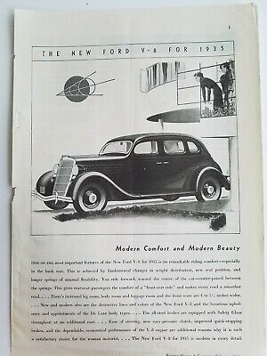 1935 Ford V8 sedan car modern comfort and beauty vintage automobile ad