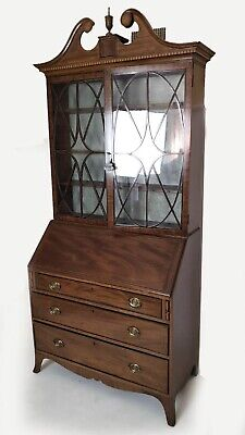 19th CENTURY SLANT FRONT TWO DOOR SECRETARY DESK BOOKCASE FITTED INTERIOR