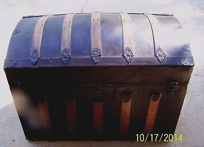 Antique Dome Top Victorian Steamer Trunk Embossed Tin and Wood Circa late 1800s