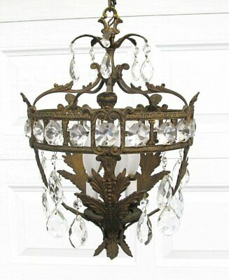Vintage Made Spain French Empire Style Brass Crystal Prism Bird Cage Chandelier