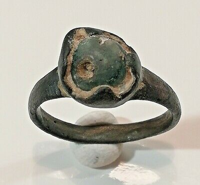 Ancient Antique Roman Bronze Ring with Stone