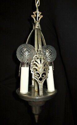 VTG ART DECO NOUVEAU BRASS SILVER CEILING CHANDELIER LIGHT FIXTURE  1940's