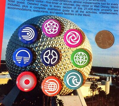 9 - TINY - Walt Disney World EPCOT CENTER Future World Attraction Logo Buttons