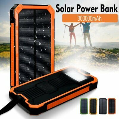 300000mAh Solar Power Bank Waterproof Dual USB Battery Charger For Cell Phone