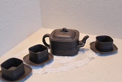 Antique Chinese Yixing Teapot Bamboo Decoration, Signed w/ 3 cups and saucers