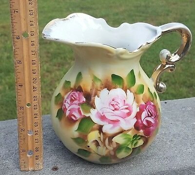 "6"" Japan PITCHER Floral Flowers Hand Painted Victorian Style Porcelain Vintage"