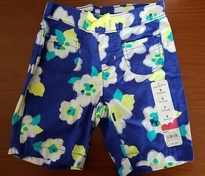 New Jumping Beans Girls Bermuda Shorts Royal Flowers Print Size 5