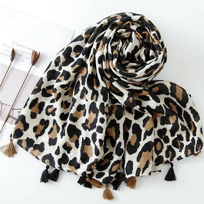 Autumn Leopard Printing Twill Tassel Fashion Women Scarf Winter Shawl B