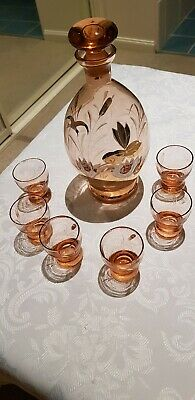 Vintage Retro Sweet Port Or Sherry Decanter With 6 Glasses VGUC