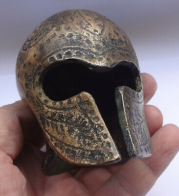Greece Ancient Greek Warrior Helmet 3 1/2'' Bronze Paperweight