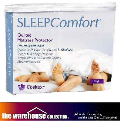 Sleep Comfort Anti Dustmite King Single 3/4 Mattress Protector Cositex Quilted