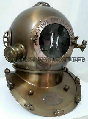 "Antique 18"" Diving Helmet Anchor Engineering Navy Deep Sea Divers Helmet Replica"