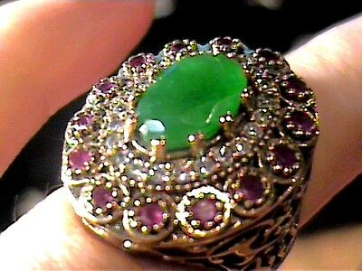 Ottoman emerald  SILVER RING 6.5 MEDIEVAL NATURAL STERLING 925 COCKTAIL OLD