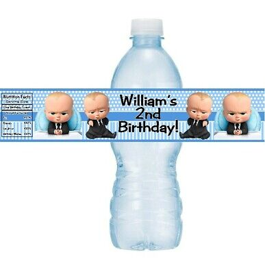 12 Boss Baby Birthday Party Shower Water Bottle Labels Stickers Wrappers Wraps