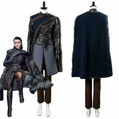 GOT Game of thrones S8 Arya Stark Cosplay Costume Outfit Cape Full Set Halloween