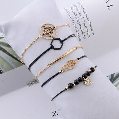 5 Piece Compass Totem Black Hexagon Chain Crystal Beads Bracelet Gifts B