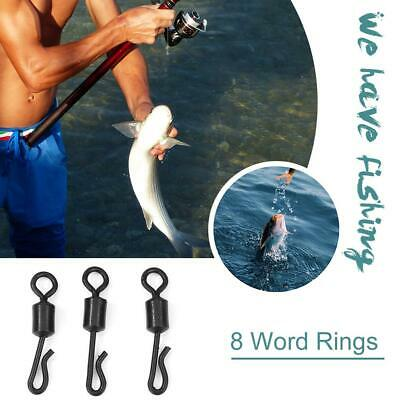 Swivel Snap Solid Rings 8 Word Fishing Connector Steel Ball Bearing Hooks 30/50x