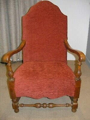Antique small oak frame occasional, hall armchair brick red. Excellent condition