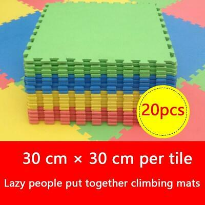 20 pcs Eva Kids Play Flooring Foam Coloured Interlocking Activity Fun Mats Mat