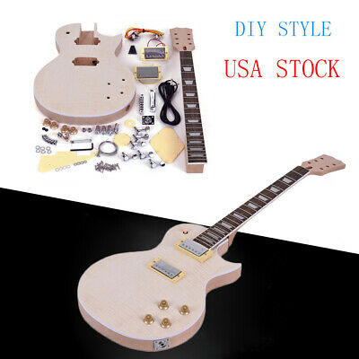 Unfinished LP Style Electric Guitar DIY Kit Top-Solid Mahogany Body Neck R8F6