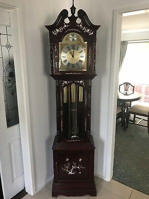 Antique Rosewood Grandfather clock with mother of pearl inlaid