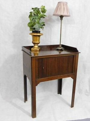 A Good Sized Antique Mahogany Tambour Front Bedside Table Side Cabinet