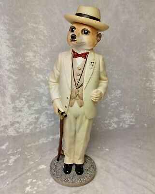 "Country Artists Magnificent Meerkats CA04482 ""Poirot"" with walking stick"
