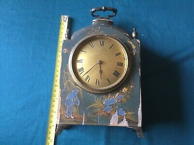 Vintage Clock Mappin & Webb Lacquered Chinoiserie Mantel Clock