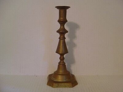 """Vintage Old Large And Heavy Brass Candlestick 9-3/4"""" High"""