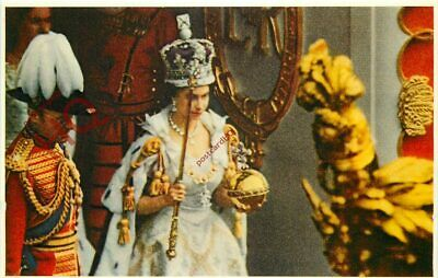 Postcard:-QUEEN ELIZABETH II, CORONATION, LEAVING THE ABBEY [QUEEN AND PEOPLE]