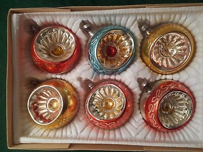 "6 German Hand Blown Mercury Glass Christmas Ornament - 3 1/4"" Across"