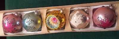 "5 German Hand Blown Mercury Glass Christmas Ornaments - 2 1/2"" Across"
