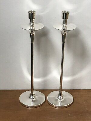 Pair of Solid Silver Candlesticks - Birmingham -  2010 (Approx 14 inch)