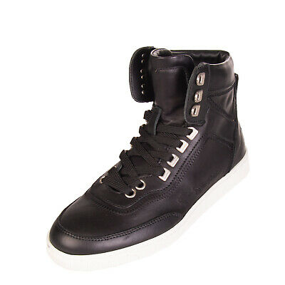 RRP €420 DSQUARED2 Leather Sneakers EU 40 UK 6 Stitched High Top Made in Italy