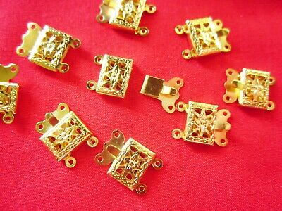 10 Gold Plated 2-Strand Box Clasps 15mmx10mm #1517 Jewellery Making Findings