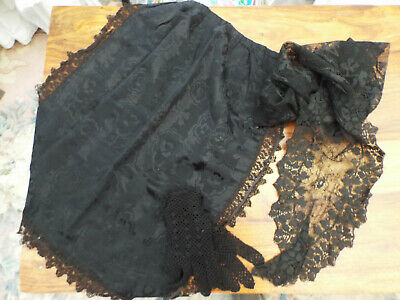 Victorian Mourning Apron Plus Mantilla/gloves