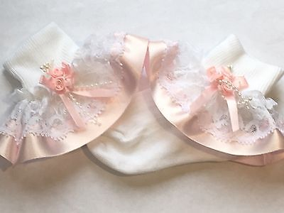 Handmade pink roses baby/girls frilly socks various sizes
