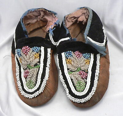 Antique 19th Century Native American Indian MOCCASINS Beaded Leather Mohawk ?
