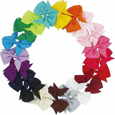 Lot 20pcs 3.5 Inch Baby Hair Bows For Girls Kids Hair Bands Alligator Hair Clips