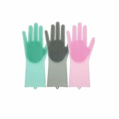1 Pair Magic Silicone Cleaning Brush Scrubber Gloves Heat Resistant Dish Washing
