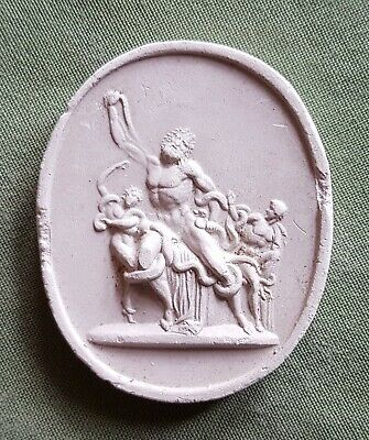 Vintage plaster Cameo Intaglio of Roman or Greek Classical scene from Seal