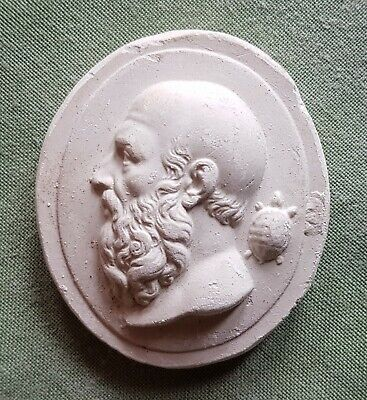 Vintage plaster Cameo Intaglio of Greek Philosopher and a Turtle