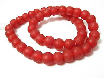 Recycling Glasperlen 13mm rot red Krobo Ghana Powder Glass Beads