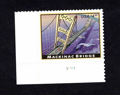 4438 Mackinac Bridge $4.90 single with P#  MNH 2010