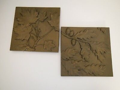 Whitehall Arts & Crafts Style Copper/Bronze Tone Tiles Oak Maple Leaves Hanging