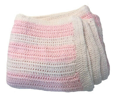 Crocheted Baby Blanket White Pink Soft Afghan Throw Hand Made USA Stroller Crib