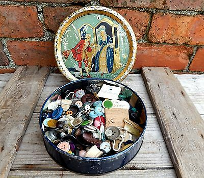 1950s Tin of Assorted Vintage Buttons Mixed - Sewing Craft - 628g