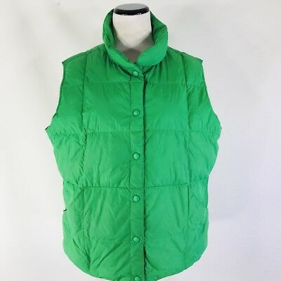 Lands End Puffer Vest Green Goose Down Feathers Size Kids 14/16