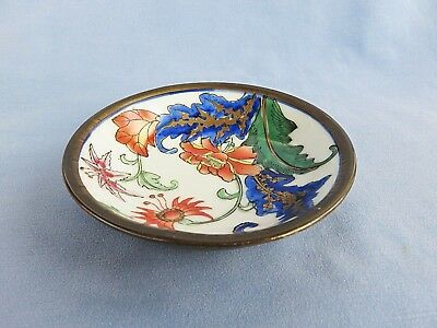 Oriental Style Small Dish Encased in Thin Brass Sheet