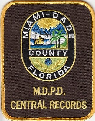MIAMI-DADE COUNTY POLICE Central Records Patch Florida Fl
